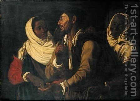 The Fortune-Teller by (after) Bartolomeo Manfredi - Reproduction Oil Painting