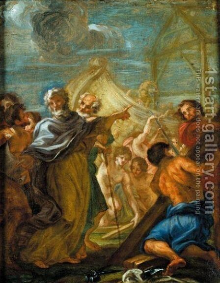 The Building Of Noah's Ark by Giovanni Battista (Baciccio) Gaulli - Reproduction Oil Painting