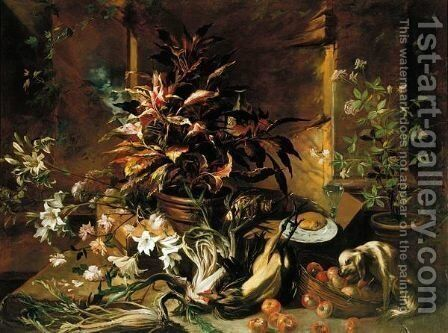 Still Life With Potted Plants And Roses, A Dog, A Basket Of Apples, Fennel, And A Semi-Plucked Rooster, A Bread Roll On A Plate And A Wine-Glass by Niccolino Van Houbraken - Reproduction Oil Painting