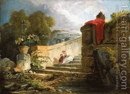 A Scene In The Grounds Of The Villa Farnese, Rome, With A Mother And Child Seated Upon An Antique Stair, A Classical Rotunda Beyond by Hubert Robert - Reproduction Oil Painting