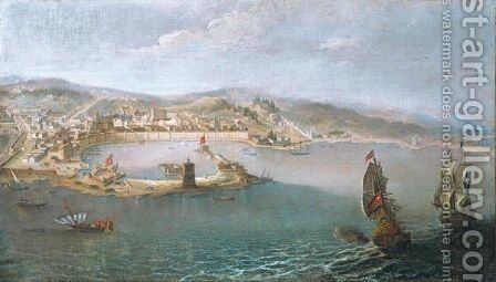 Messina, A Panoramic View Of The Harbour And The City Taken From The Sea by Bernardino Vincenzo Fergioni - Reproduction Oil Painting