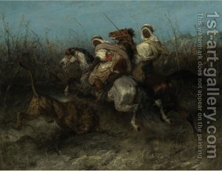 The Lion Hunt by Adolf Schreyer - Reproduction Oil Painting