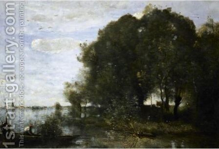 La Presqu'Ile Boisee by Jean-Baptiste-Camille Corot - Reproduction Oil Painting