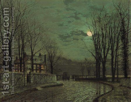 A Wooded Lane By Moonlight by John Atkinson Grimshaw - Reproduction Oil Painting