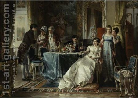 The Suitor Meets Her Family by Carl Herpfer - Reproduction Oil Painting