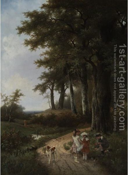 Dutch, Mid 19th Century Children Picking Flowers In A Park by Albert Roosenboom - Reproduction Oil Painting
