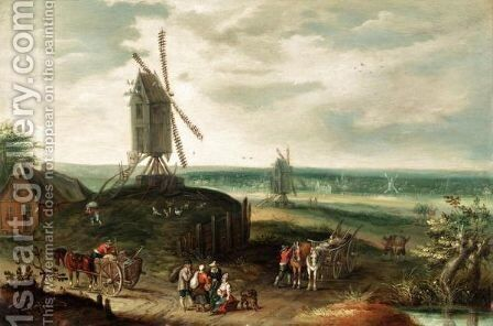 A Landscape With Windmills And Figures On A Path by (after) Jan The Elder Brueghel - Reproduction Oil Painting