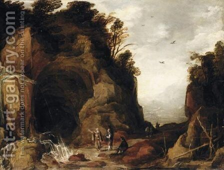 A Mountainous Landscape With Travellers And A Hermit Outside A Cave With A Waterfall by (after) Joos De Momper - Reproduction Oil Painting