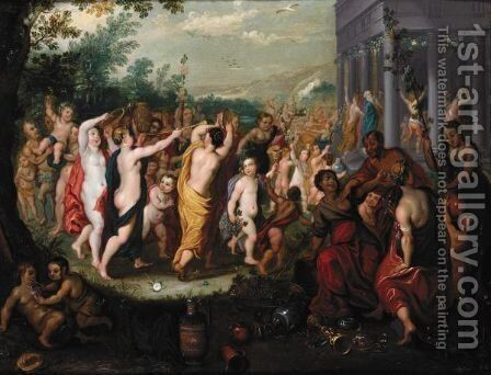 A Bacchanal Scene In Front Of A Temple by (after) Hendrik Van Balen, I - Reproduction Oil Painting