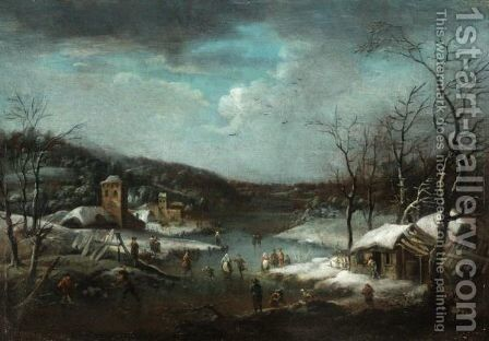 A Skating Scene With A Town Beyond by (after) Jan-Pieter Van Bredael - Reproduction Oil Painting