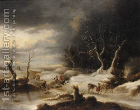 A Winter Landscape With Bandits Ambushing Travellers by J. Van Velden - Reproduction Oil Painting