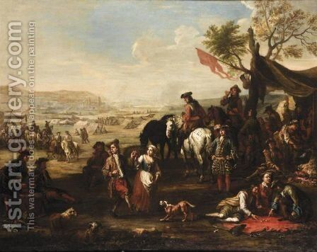 Military Encampment With Soldiers Drinking, Playing Dice And Carousing by Christian Reder - Reproduction Oil Painting
