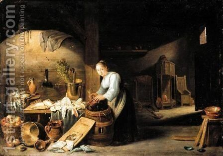 A Kitchen Interior With A Servant Woman Washing A Pot, Some Fish And Fowl On The Table Nearby by (after)  David The Younger Teniers - Reproduction Oil Painting