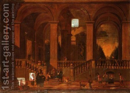 Architectural Capriccio Of The Interior Of A Palace With Elegant Company Promenading by (after) Niccolo Codazzi - Reproduction Oil Painting