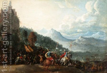 Extensive Mountainous Landscape Witha Roman Army Marching Into Battle by (after) Filippo Napoletano - Reproduction Oil Painting