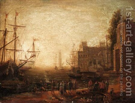 A Mediterranean Seaport With Villa Medici And Figures On The Quay by (after) Claude Lorrain (Claude Gellee) - Reproduction Oil Painting
