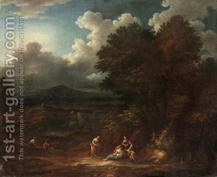 Extensive Classical Landscape With Six Figures In The Foreground, A Hilltop Town Beyond by (after) Jan Baptist Huysmans - Reproduction Oil Painting