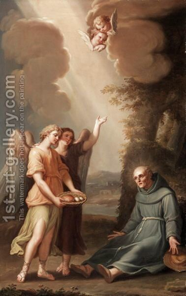 Saint Francis Being Fed By The Angels by Antonio Cavalucci - Reproduction Oil Painting