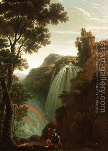 Landscape With Bandits Dividing Their Spoils Before A Waterfall by (after) Claude Louis Chatelet - Reproduction Oil Painting