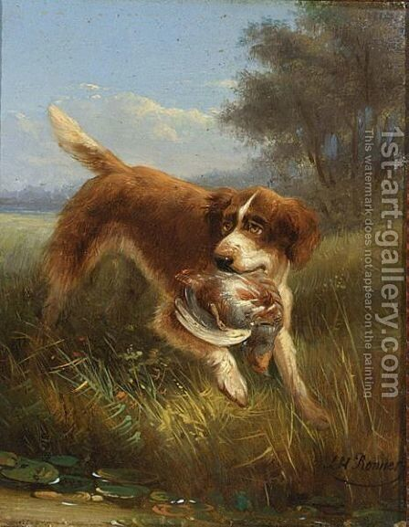 A Hunting Dog by Henriette Ronner-Knip - Reproduction Oil Painting