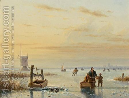 Skaters On A Frozen Waterway, Windmills In The Distance by Nicolaas Johannes Roosenboom - Reproduction Oil Painting