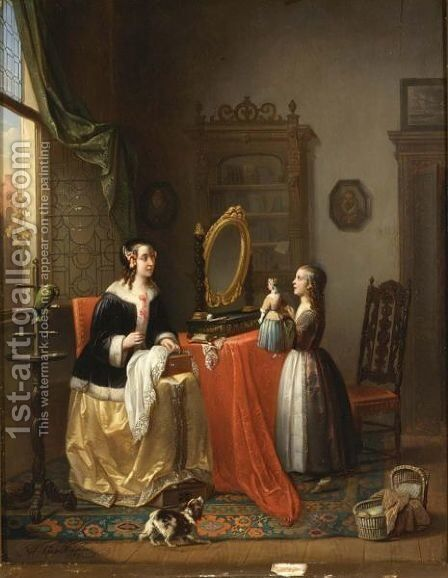 Playing With The Doll by Alexis van Hamme - Reproduction Oil Painting