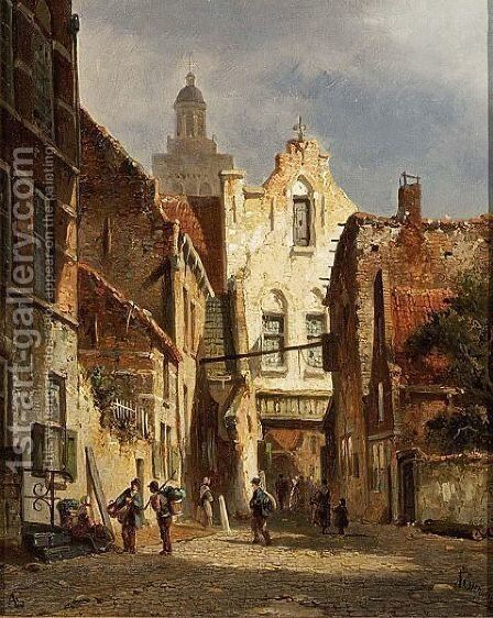 Villagers In The Streets Of A Sunlit Dutch Town by Adrianus Eversen - Reproduction Oil Painting