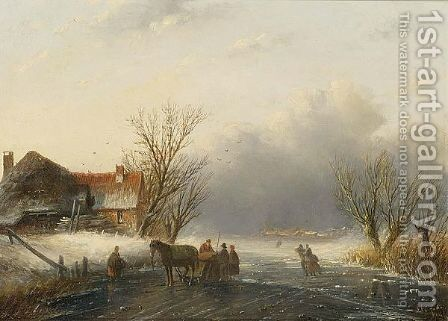 A Winter Landscape With A Horse-Sledge On The Ice by Jan Jacob Coenraad Spohler - Reproduction Oil Painting