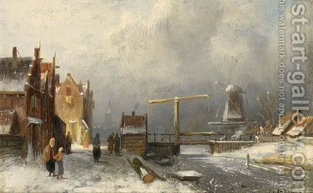 Villagers In A Snow Covered Dutch Town, A Windmill In The Distance by Charles Henri Leickert - Reproduction Oil Painting