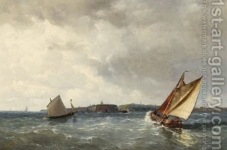 Approaching The Harbour by Joannes Frederick Schutz - Reproduction Oil Painting