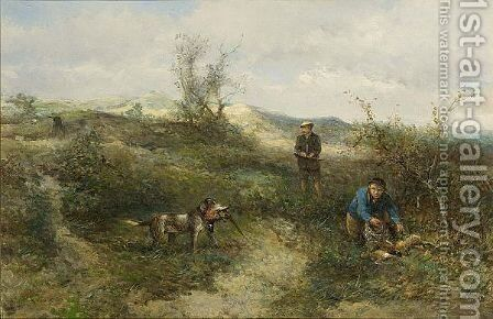 Hunters In The Dunes by Jan Mari Henri Ten Kate - Reproduction Oil Painting