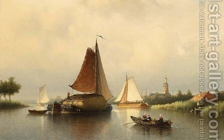 The Hay Barge by Johan Adolph Rust - Reproduction Oil Painting