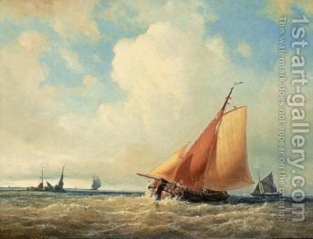A Sailing Vessel At Full Sail by Joannes Frederick Schutz - Reproduction Oil Painting