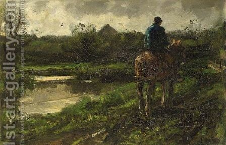 On The Tow Path 2 by Jacob Henricus Maris - Reproduction Oil Painting