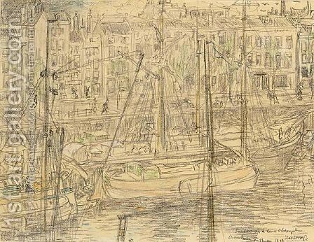 A View Of The Leuvehaven, Rotterdam by Jan Toorop - Reproduction Oil Painting