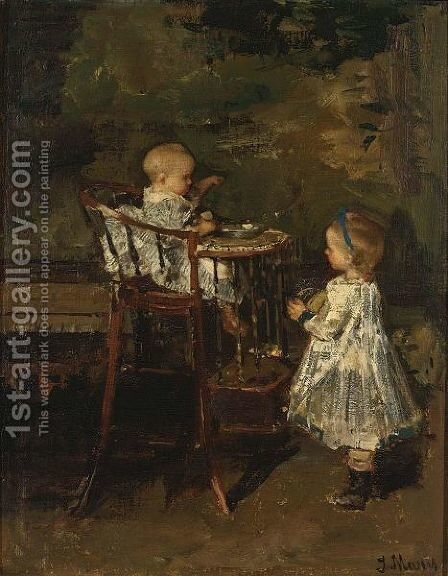 The Two Little Sisters by Jacob Henricus Maris - Reproduction Oil Painting