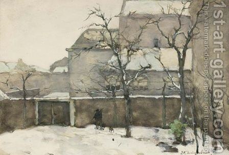 Garden In The Snow by Jan Hendrik Weissenbruch - Reproduction Oil Painting