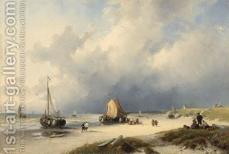 Bomschuiten And Fisherfolk On The Beach by Charles Henri Leickert - Reproduction Oil Painting