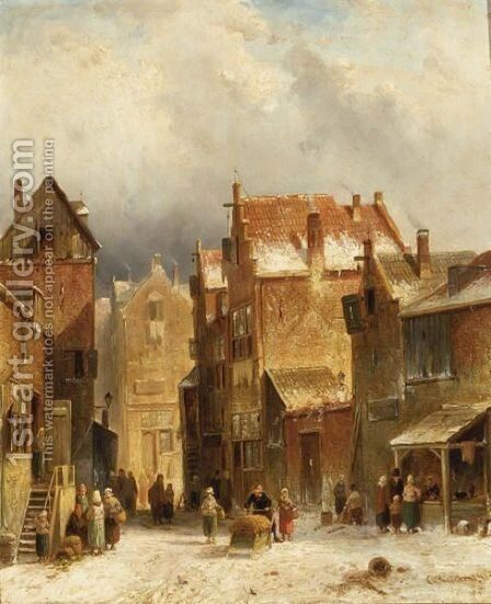 Figures In A Dutch Town In Winter by Charles Henri Leickert - Reproduction Oil Painting