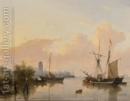 Ships On A River Near Dordrecht by Andreas Schelfhout - Reproduction Oil Painting