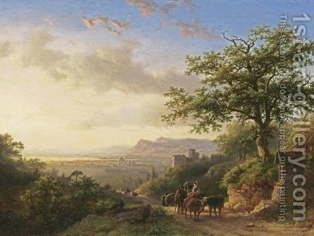 An Extensive Rhineview With Travellers On A Path by Barend Cornelis Koekkoek - Reproduction Oil Painting