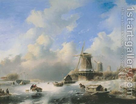 A Frozen Winter Landscape With Skaters By A Windmill by Jan Jacob Coenraad Spohler - Reproduction Oil Painting