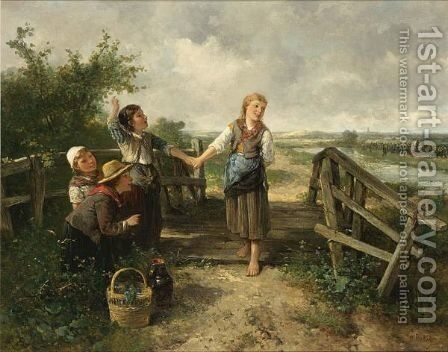 Merry Children In The Dunes by Jan Mari Henri Ten Kate - Reproduction Oil Painting