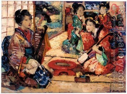 The Samisen Players by Edward Atkinson Hornel - Reproduction Oil Painting