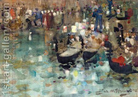 Venetian Gondoliers by James Watterston Herald - Reproduction Oil Painting