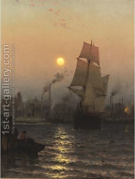 Shipping In Harbor By Moonlight by Mauritz F. H. de Haas - Reproduction Oil Painting