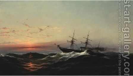Sunset On A Rough Sea by James Hamilton - Reproduction Oil Painting