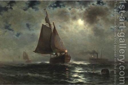 Red Light, Green Light by Edward Moran - Reproduction Oil Painting