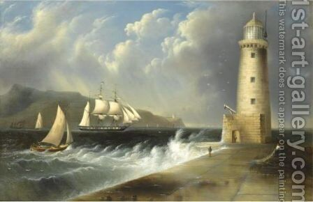 Seascape With Lighthouse by Edmund C. Coates - Reproduction Oil Painting