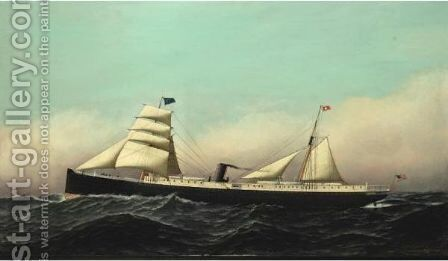 Ss Columbia by Antonio Jacobsen - Reproduction Oil Painting
